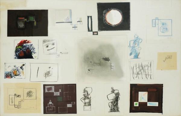Dimitris Condos, Sketches, Paris 1963, Mixed media on paper, 50x70cm