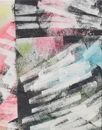 Ralph Hunter-Menzies, Alternative Futures, 2017, Spray paint and acrylic on sewn canvas, 35x45cm