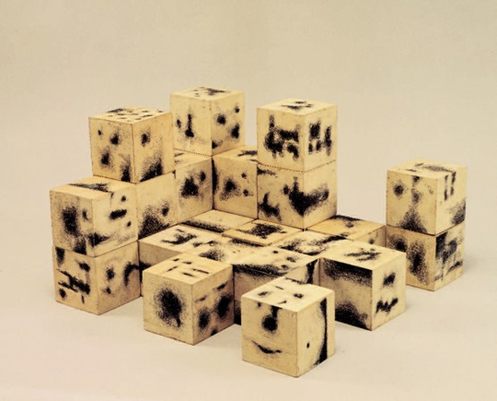 Dimitris Condos, Toys for -big children-, Athens 1965, 27 ink painted hardboard cube, Each cube 10x10cm