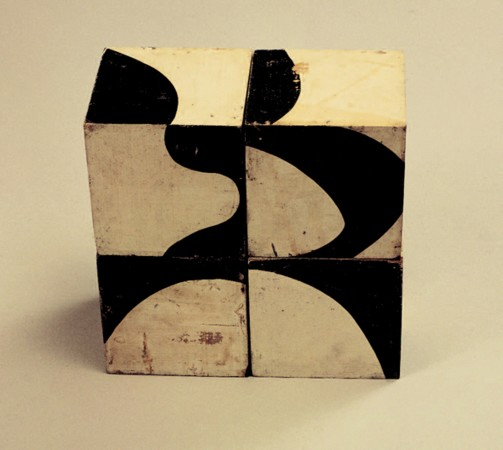 Dimitris Condos, Toys for -big children-, Athens 1965, 4 ink painted hardboard cubes, Each cube 10x10cm