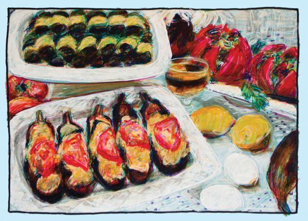 Alexia Karavela, Untitled (Melitzanes Papoutsakia), 2013, colored pens on colored canson paper, 47,5x38cm