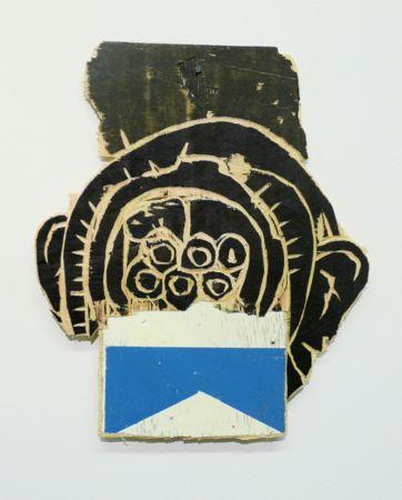 Nikos Sepetzoglou, I have a monkey diver, 2013, enamel paint on wood, 20x17cm, Courtesy of Elika gallery
