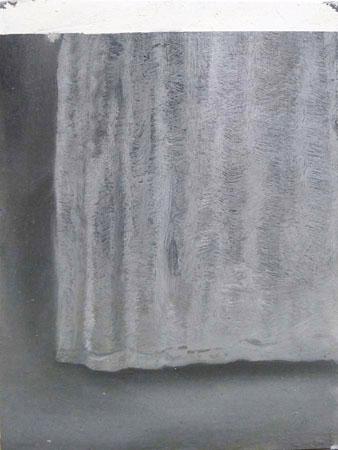 Vangelis Gokas, Untitled (curtain), 2014, oil on wood, 20x15cm
