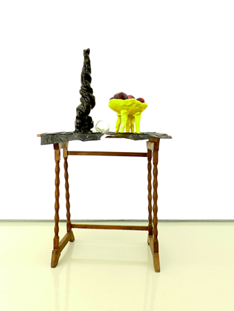 Nikos Tranos, Prize, 2010, porcelain, glazed ceramic and home furniture, fresh fruit, 96x33x45cm