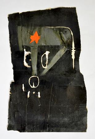 Nikos Sepentzoglou, Ernie, 2011, engraving and coatings on scrap wood, 53x35cm