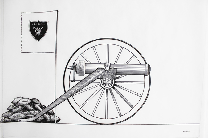 Nikos Papadimitriou, Cannon, 2012, ink on transparent paper, 35x27cm