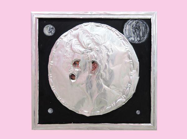 Konstantinos Ladianos, Coin, 2017, aluminium and egg tempera on wood, 50x48cm