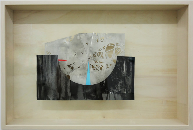 Lefteris Tapas, Diorama II, 2013, Assemblage with ink, acrylics and graphite on cut paper, 63x43x7cm