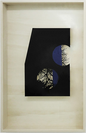 Lefteris Tapas, Moon I, 2013, Assemblage with ink, acrylics and graphite on cut paper, 83x53x7cm