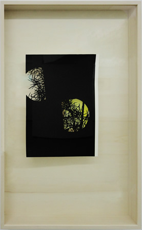 Lefteris Tapas, Moon II, 2013, Assemblage with ink, acrylics and graphite on cut paper, 83x53x7cm