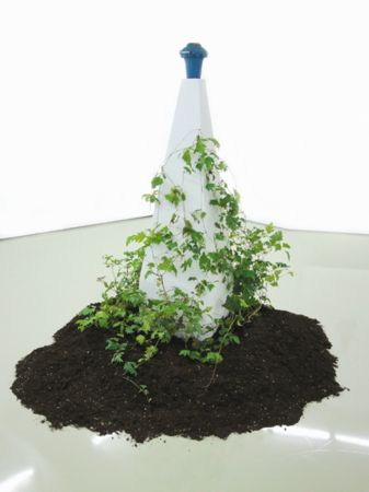 Untitled, 2012, Metal Sculpture, Plaster Pedestal and Ivies, 41x41x169,5cm