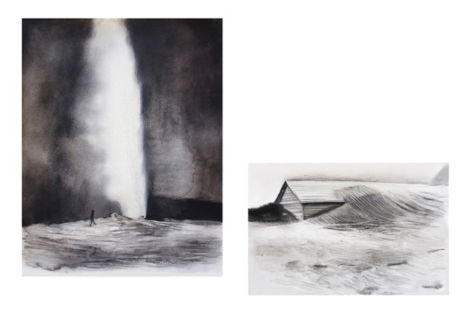 Marianna Ignataki, Installation view 2, Fountain (left) - The Wrap (right)
