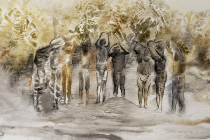 Marianna Ignataki, Dancing in the forest IV, 2016, 56x38cm, watercolor, pencil and colored pencil on paper