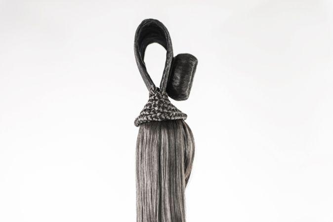 Marianna Ignataki, Xiǎo Dòng 洞 小 The Little Hole (The Cave), 2017, wig, synthetic hair, fabric, thread, metal base, 129x16x12cm, detail