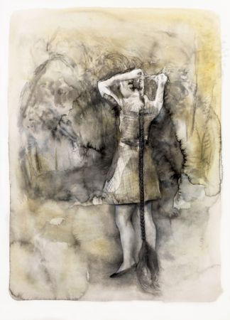 Marianna Ignataki, The Braid, 2016, watercolor, pencil, colored pencil and pastel on paper, 59x43cm