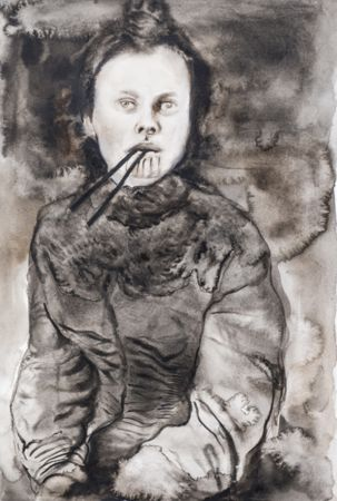 Marianna Ignataki, Woman With Chopsticks, 2014, watercolor and pencil on paper, 52x36cm