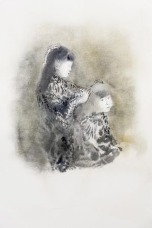 Marianna Ignataki, Untitled (Girls doing their hair), 2016, watercolor and pencil on paper, 56x38cm