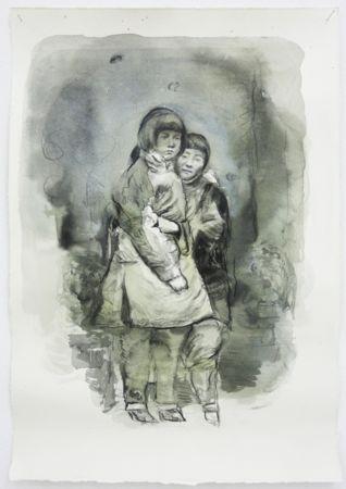Marianna Ignataki, The Hug (Yǒngbào 拥抱), 2017, watercolor, pencil, colored pencil and pastel on paper, 46x31cm