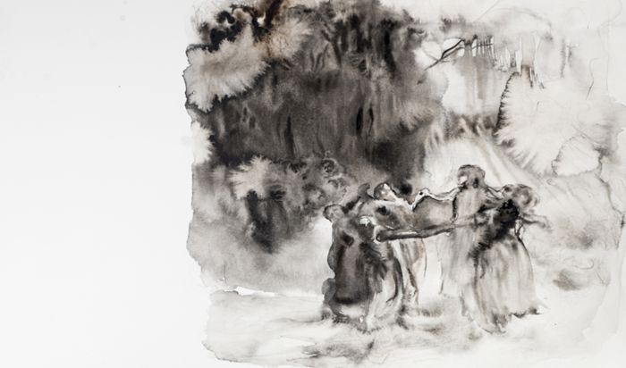 Marianna Ignataki, Come To Me I (Dancing In The Forest), 2014, watercolor and pencil on paper, 33x56cm