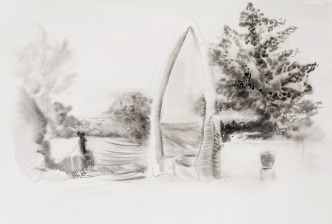 Marianna Ignataki, Form I (The Gate), 2016, watercolor and pencil on paper, 39x56cm