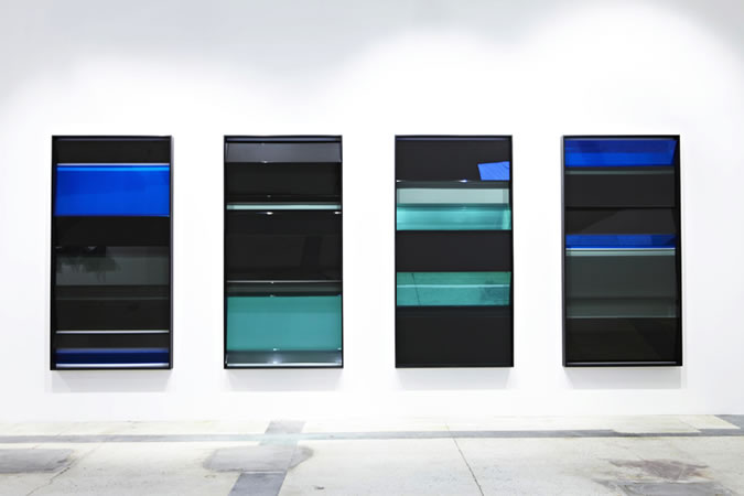 :mentalKLINIK, Slider-1102_1103_1104_1105, 2011, Glass, Micro-Layered Polyester Films, Anodized Aluminium, 103x203cm each