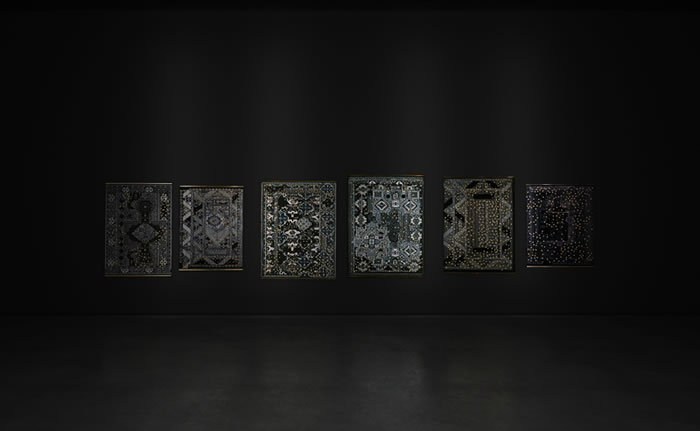 :mentalKLINIK, Untitled, 2011, Wool, handwoven carpets, high polished bronze, dimensions variable
