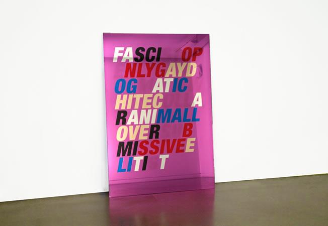:mentalKLINIK, Luke, (FASCIST-OPENLY GAY–DOGMATIC-WHITE COLLAR–ANIMAL LOVER–SUBMISSIVE–ELITIST), 2014, Tempered glass, micro-layered polyester films, 110x160cm