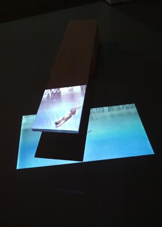 Natasa Eftsathiadi, Greg Luganis' Head, digital projection on wooden sculpture, detail