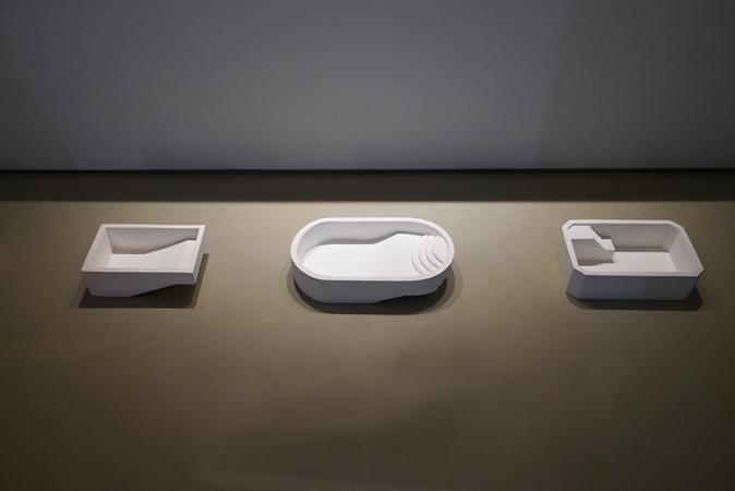 Natasa Efstathiadi, The Swimmer, 9 plaster pools, dimensions variable, detail