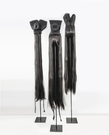 Marianna Ignataki, Totem, 2017, synthetic hair, fabric, thread, metal base 01