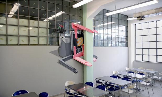 Pavlos Tsakonas / Lift, 2009, Acrylics on canvas mounted on plywood, 210x140cm, Installation View