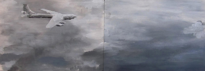 Stelios Karamanolis - Last Flight to Hell-Note, 2011, acrylic on paper, 34x12cm