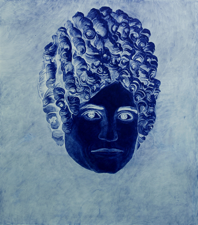 Tula Plumi, Masses of Curls, The eternal face I, 2010, blue carbon drawing on paper, 75x83 cm