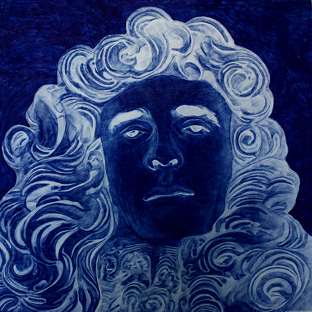 Tula Plumi, Masses of Curls, The eternal face II, 2010, blue carbon drawing on paper, 74x75 cm
