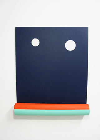 Tula Plumi, Untitled, Lines and circles series, 2012, spray paint on metal, 85x70x16cm
