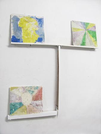 Tula Plumi, No2 (Landscapes) 2011, colored plaster, wood, 140x130x8 cm