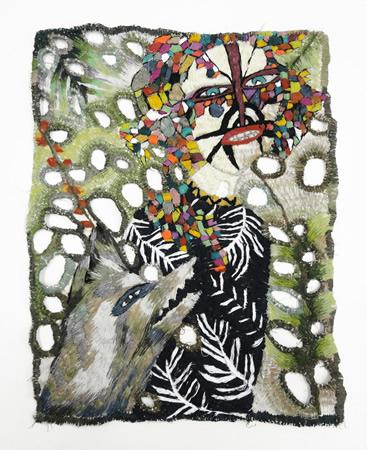 Zoi Gaitanidou, Untitled, 2013, Embroidery on canvas, 35x47cm