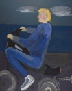 Celia Daskopoulou, Untitled (Man with Motorcycle), 1988, acrylic on canvas, 100x81cm