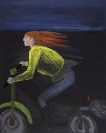 Celia Daskopoulou, Untitled (Woman with Motorcycle), 1988, acrylic on canvas, 100x81cm