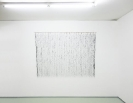 Nikos Alexiou, Black Curtain, paper, string, reed, 180x135cm