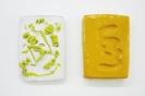 Sofia Stevi, Tablets, 2015, plaster, enamel paint, plasticine, glass, 15x21cm