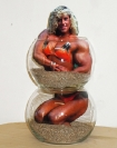 Eleni Bagaki, Blonde-Beach, 2013,  glass bowls, sand, photograph, 28x16x16cm