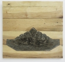 Irini Bachlitzanaki, Untitled (#9), 2012, used pallets and found, wooden, hand-carved ornamental pieces, 35x35cm