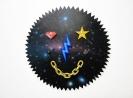 Pavlos Tsakonas, Aether God, 2017 Painting, acrylics on plywood, swarovsky crystal, galena crystal, glass ball, plastic, metal chain, gold leaf, 79x79cm