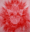 Tula Plumi, Mask, 2009, red carbon drawing on paper, 160x150 cm