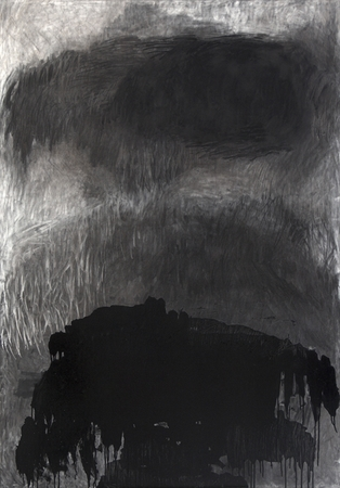 Giorgos Kontis, Untitled, 2009, Charcoal and enamel paint on canvas, 200x140cm