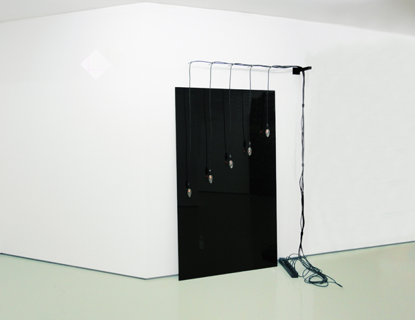 Dimitris Foutris, Gas Lamps as Angels (After Lisel Mueller's poem Monet Refuses The Operation), 2009, Installation, black glass, wires, lamps, metal part, white gloss paint on wall, Dimensions Variable