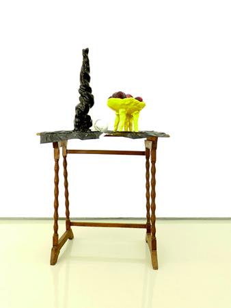 Nikos Tranos, Prize, 2010, porcelain, glazed ceramic and home furniture, fresh fruit, 96x33x45cm