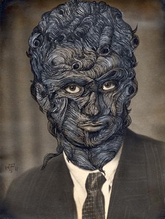 Giorgos Tserionis, Post Mortem, 2011, ink on photograph in vintage frame, 30x40cm