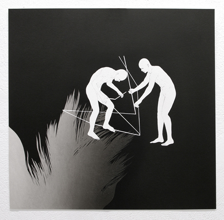 Dimitris Baboulis,  Unique opportunity for an angle, 2011, black india ink on paper, 46x47cm